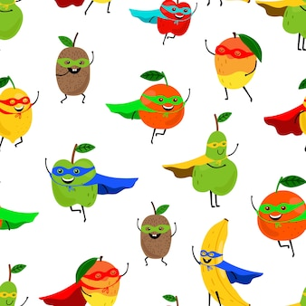 Padrão sem emenda de super frutas.
