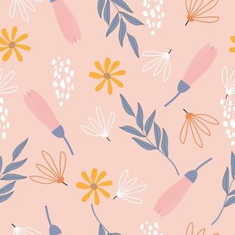 Padrão sem emenda de superfície floral pastel sem costura