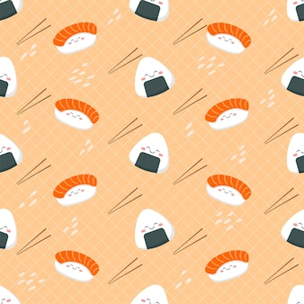 Padrão sem emenda de sushi bonito dos desenhos animados