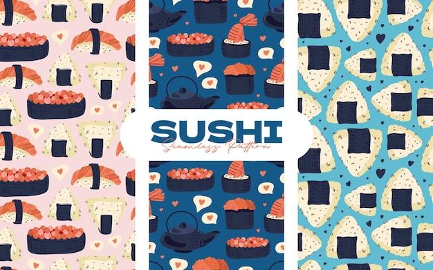 Padrão sem emenda de sushi. coleção de fundo de comida japonesa