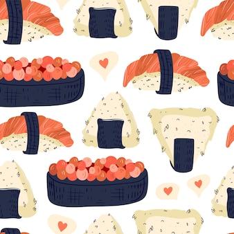 Padrão sem emenda de sushi e onigiri.