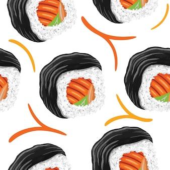 Padrão sem emenda de sushi em estilo design plano