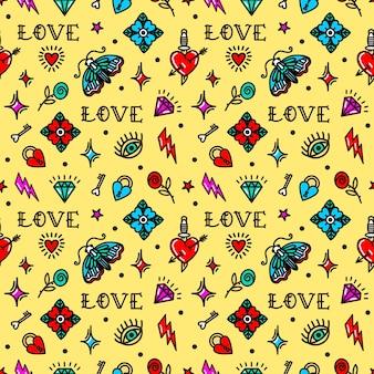 Padrão sem emenda de tatuagem da velha escola com símbolos de amor. ilustração vetorial