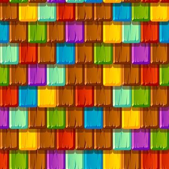 Padrão sem emenda de telhados de madeira multicoloridos velhos com azulejos.