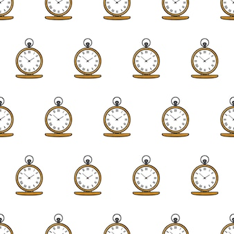 Padrão sem emenda de tempo de relógio de bolso. ilustração do tema do relógio de ouro antigo