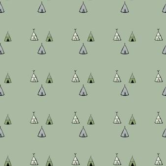 Padrão sem emenda de tenda geométrica sobre fundo verde. papel de parede tribal.
