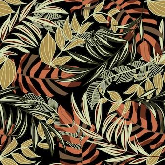 Padrão sem emenda de tendência brilhante com folhas e plantas tropicais coloridas