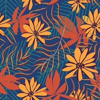 Padrão sem emenda de tendência com folhas e flores tropicais brilhantes