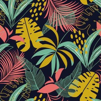 Padrão sem emenda de tendência com folhas e plantas tropicais coloridas