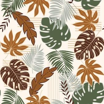 Padrão sem emenda de tendência com folhas tropicais verdes e marrons