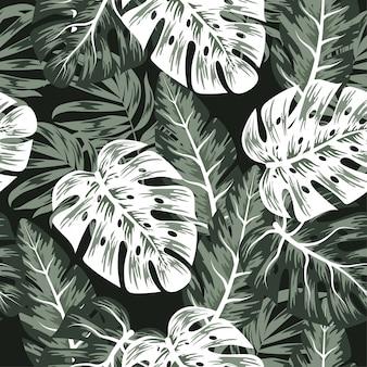 Padrão sem emenda de tendência com plantas tropicais e folhas
