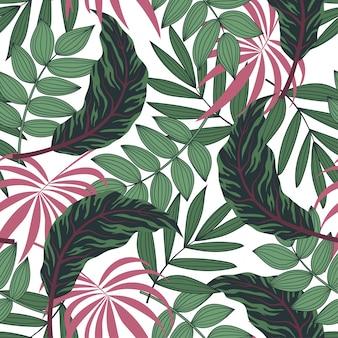 Padrão sem emenda de tendência verão com plantas tropicais