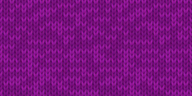 Padrão sem emenda de textura de malha simples realista violeta. padrão de malha perfeita. pano de lã. ilustração para design, planos de fundo, papel de parede. ilustração vetorial.