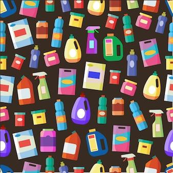 Padrão sem emenda de tipos de frascos de detergente. spray, desinfetante, sabão de lavar louça, limpador de roupa