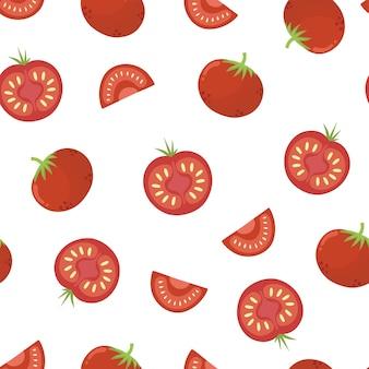 Padrão sem emenda de tomates vegetais saudáveis fundo vermelho impressão de ingrediente de alimentos orgânicos