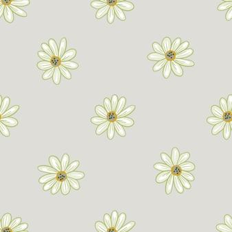 Padrão sem emenda de tons pastel minimalistas com formas de flores botânicas margarida. plano de fundo cinza. impressão doodle. ilustração das ações. desenho vetorial para têxteis, tecidos, papel de embrulho, papéis de parede.