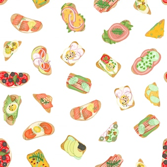 Padrão sem emenda de torradas de carne com diferentes ingredientes vegetais