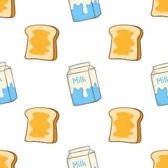 Padrão sem emenda de torradas de leite e manteiga com estilo doodle