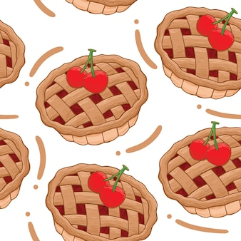 Padrão sem emenda de torta de cereja em estilo design plano