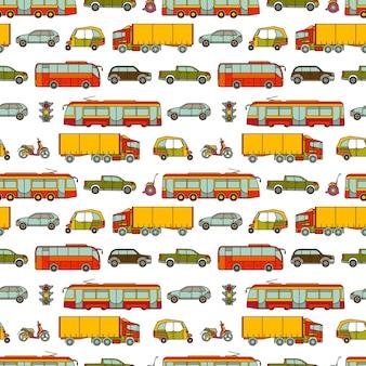 Padrão sem emenda de transporte com veículos diferentes