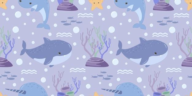 Padrão sem emenda de tubarão fofo para papel de parede de tecido infantil e muito mais