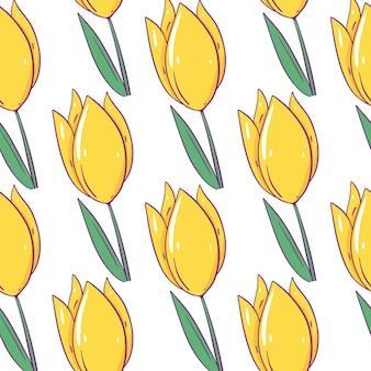 Padrão sem emenda de tulipa amarela. estilo de desenho animado com contorno. isolado.