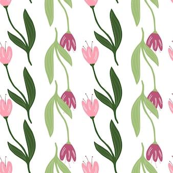 Padrão sem emenda de tulipa linda isolado no fundo branco. papel de parede da natureza.