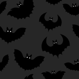 Padrão sem emenda de um morcego preto no halloween.