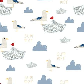 Padrão sem emenda de um pássaro bonito com uma nuvem em um fundo branco. ilustração vetorial