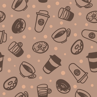 Padrão sem emenda de uma xícaras de café e deliciosos donuts.