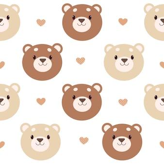 Padrão sem emenda de urso de desenho animado