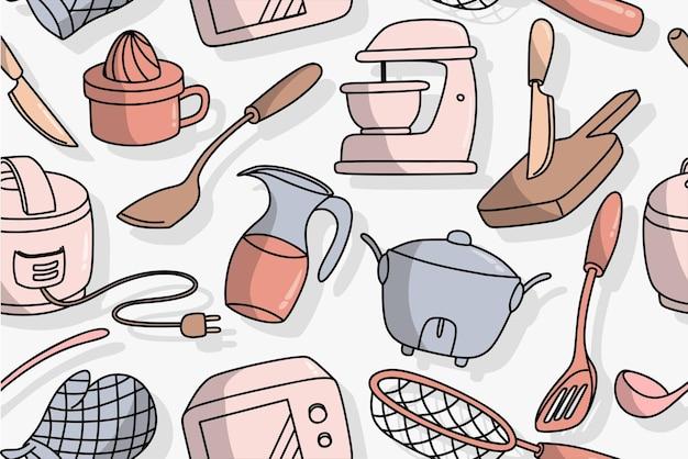 Padrão sem emenda de utensílios de cozinha