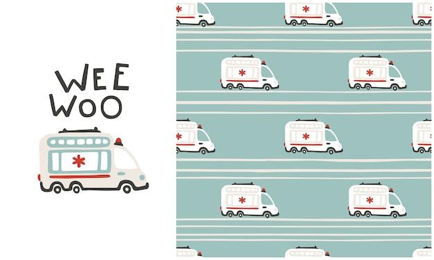 Padrão sem emenda de vagões de ambulância