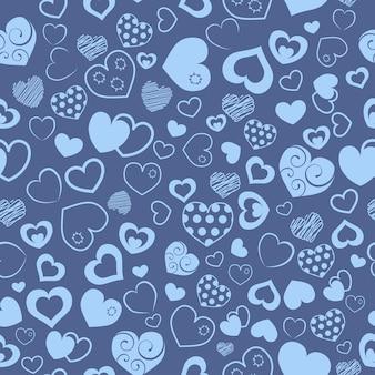 Padrão sem emenda de vários corações, azul claro em azul escuro