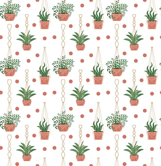 Padrão sem emenda de vasos de flores em vasos de macramé, estilo escandinavo moderno, textura infinita de plantas suspensas.