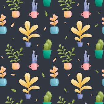 Padrão sem emenda de vasos de plantas