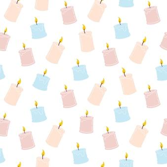 Padrão sem emenda de velas queimando perfumadas. projeto para impressão, têxteis, invólucros. ilustração vetorial de spa e aromaterapia