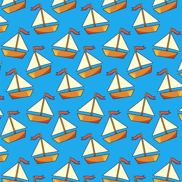 Padrão sem emenda de veleiro em fundo azul