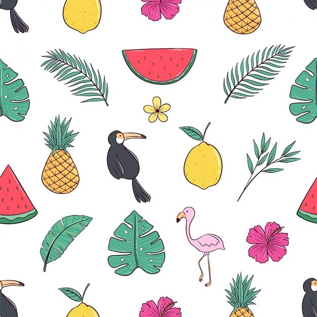 Padrão sem emenda de verão bonito com estilo colorido doodle
