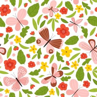 Padrão sem emenda de verão brilhante com borboletas, flores e folhas.
