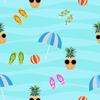 Padrão sem emenda de verão colorido com chinelos de abacaxi e bola no fundo ondulado