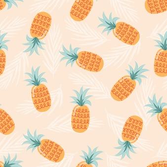 Padrão sem emenda de verão com abacaxis. ilustração de fruta