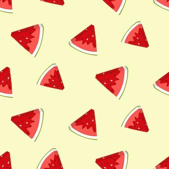 Padrão sem emenda de verão com fatias de melancia.