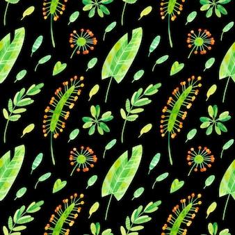 Padrão sem emenda de verão com folhas de bananeira da selva