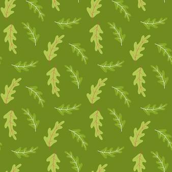 Padrão sem emenda de verão com folhas de carvalho em tons de verde