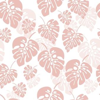 Padrão sem emenda de verão com folhas de palmeira rosa de monstera no fundo branco