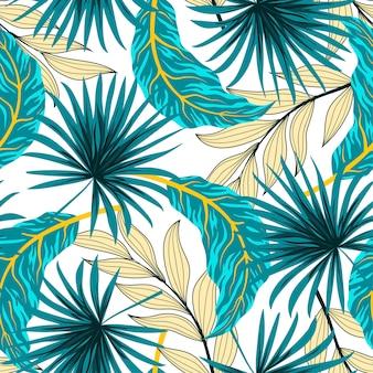 Padrão sem emenda de verão com folhas tropicais azuis