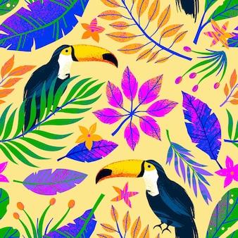 Padrão sem emenda de verão com folhas tropicais desenhadas à mão