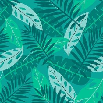 Padrão sem emenda de verão com folhas tropicais