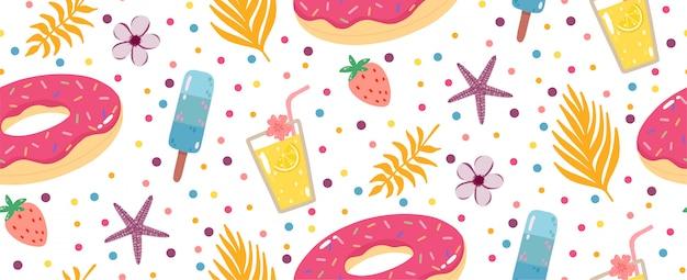 Padrão sem emenda de verão com limonada, donuts infláveis, sorvetes e folhas de palmeiras.